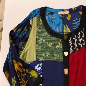 Fun, colorful, flowing tunic with cool buttons
